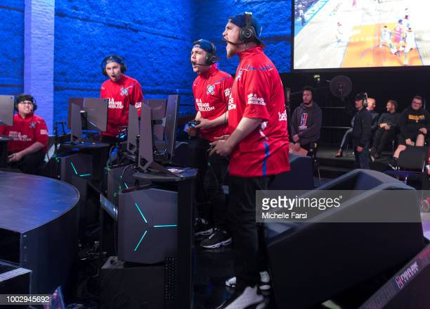 Lets Get It Ramo and JosephTheTruth of Pistons Gaming Team react during the game against Knicks Gaming and on July 20 2018 at the NBA 2K Studio in...