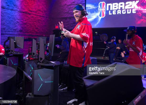 Lets Get It Ramo of Piston Gaming Team reacts during the game against Knicks Gaming on July 20 2018 at the NBA 2K Studio in Long Island City New York...