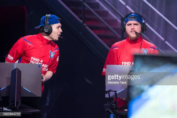 Lets Get It Ramo of Pistons Gaming Team and JosephTheTruth of Pistons Gaming Team react during the game against Knicks Gaming on July 20 2018 at the...