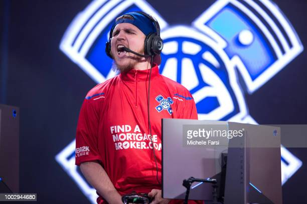 Lets Get It Ramo of Pistons Gaming Team reacts during the game against Knicks Gaming on July 20 2018 at the NBA 2K Studio in Long Island City New...
