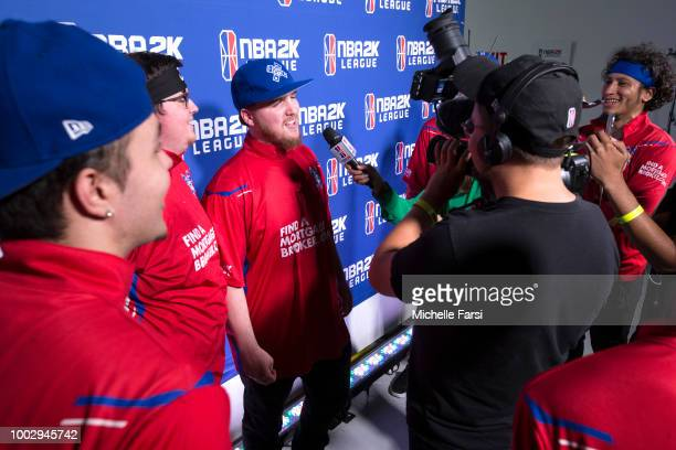 Lets Get It Ramo of Pistons Gaming Team speaks with the media after the game against Knicks Gamins on July 20 2018 at the NBA 2K Studio in Long...