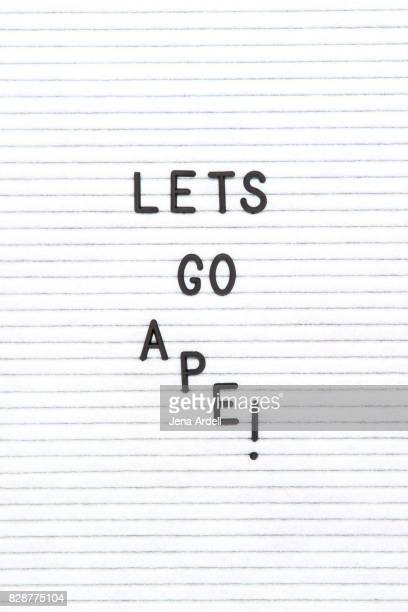 let's go ape! - typographies stock photos and pictures