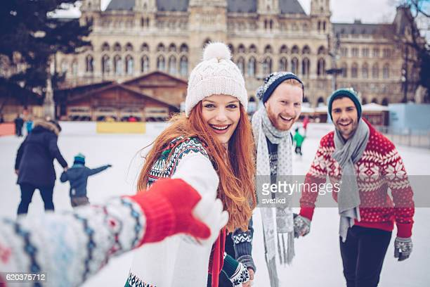 let's go do fun winter stuff - town hall square stock pictures, royalty-free photos & images