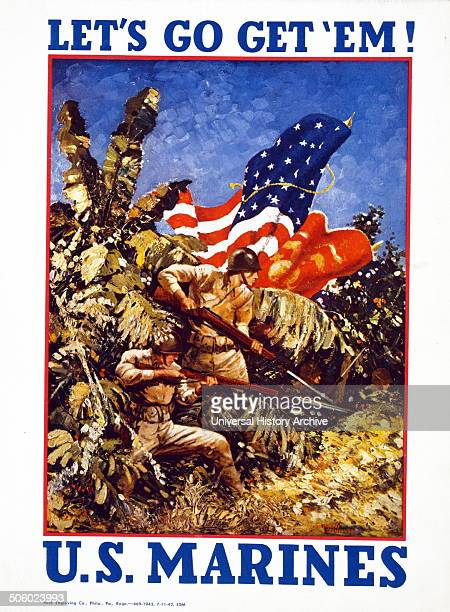 Let's go get 'em US Marines / Guinness Captain USMC 1942 poster showing Marines bearing rifles with bayonets and flags in a jungle Photo by