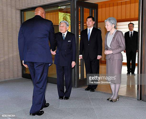 Letsie III of Lesotho is greeted by Emperor Akihito and Empress Michiko prior to their meeting at the Imperial Palace on November 25 2016 in Tokyo...