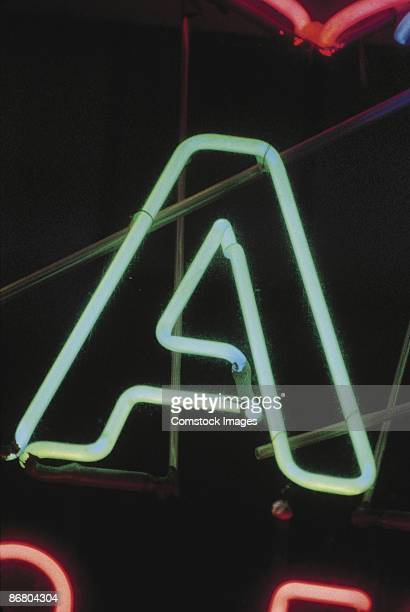 Letter A on neon sign