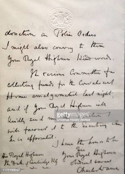 Letter addressed to the Duke of Cambridge by Sir Charles Warren thanking him for his donation to the police office Sir Charles Warren a British...