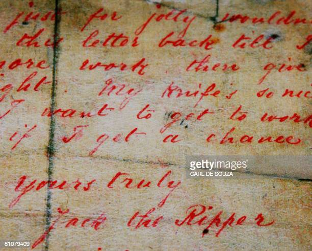 A letter allegedly written by Jack the Ripper and sent to a London news agency on Spetember 25 1888 is displayed at a press preview of the 'Jack the...