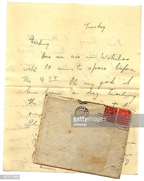 letter and envelope posted from waterloo station in 1927 - tuesday stock pictures, royalty-free photos & images