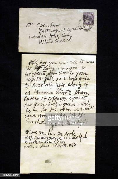 A letter and envelope that was written by a person claiming to be Jack the Ripper It was sent to Doctor Thomas Openshaw of the London Hospital...
