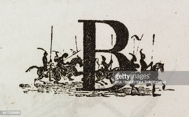 Letter B or Cavalry Regiment conspirators alphabet illustration from Chapter Six Part III A Voyage to Laputa Balnibarbi Luggnagg Glubbdubdrib and...