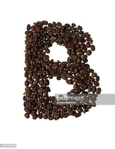 Letter B written with coffee