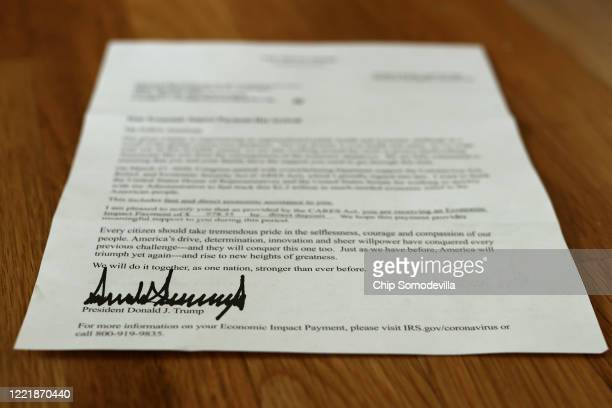 Letter bearing the signature of U.S. President Donald Trump was sent to people who received a coronavirus economic stimulus payment as part of the...