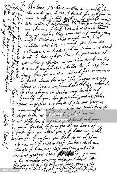 Letter by Arabella Stuart to her aunt, the Countess of Shrewsbury, late 16th - early 17th century . A direct descendant of Henry VII, Arabella...