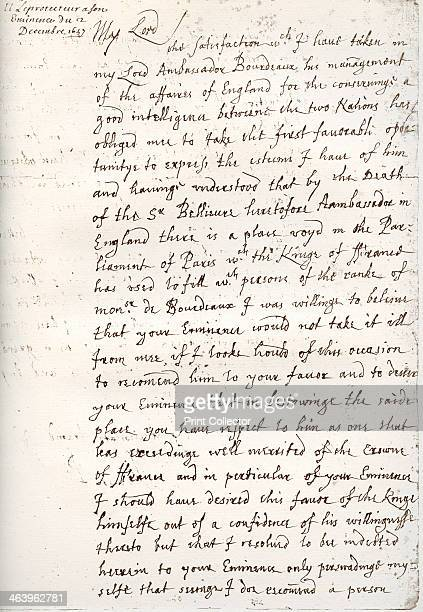 A letter by Oliver Cromwell to Cardinal Mazarin 4 December 1657 A facsimile of a letter from Cromwell English military leader and politician to Jules...