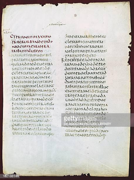 Letter by San Cipriano in uncial script manuscript Italy 5th century Città Del Vaticano Biblioteca Apostolica Vaticana