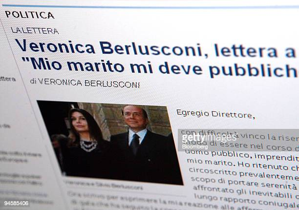 A letter by Veronica Berlusconi seen in the image at left posted in the print and online editions of La Repubblica newspaper requesting an apology...