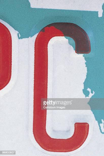 Letter C on license plate