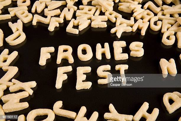 Letter cookies spelling out the German phrase Frohes Fest
