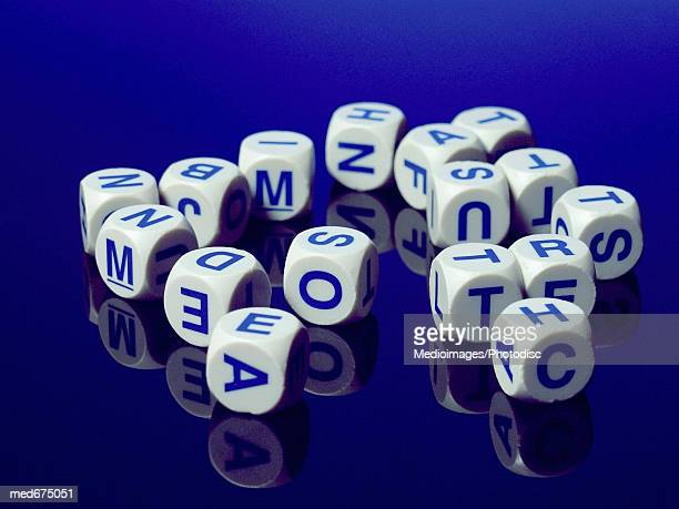 Letter cubes for game, close-up