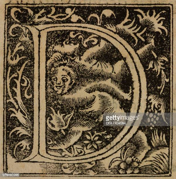 Letter D drop cap engraving from De Re Metallica by Georg Agricola published in Basel in 1561