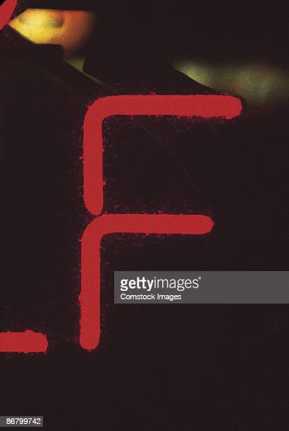 Letter F on neon sign