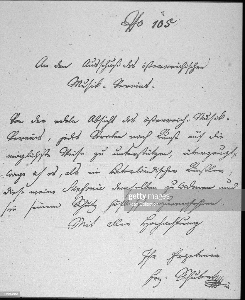 A Letter From Austrian Composer Franz Peter Schubert