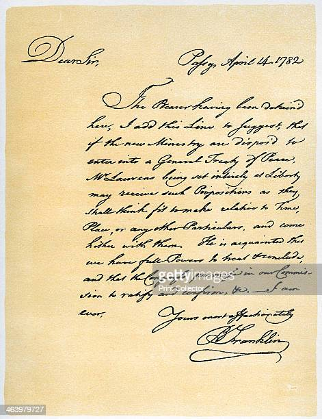 Letter from Benjamin Franklin to David Hartley MP 14th April 1782 Letter written from Passy when Franklin was Minister from the United States to...