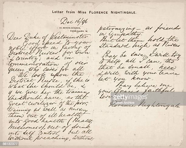 A letter from Florence Nightingale to the Duke of Westminster about her approach to health and the importance of district nurses 16th December 1896