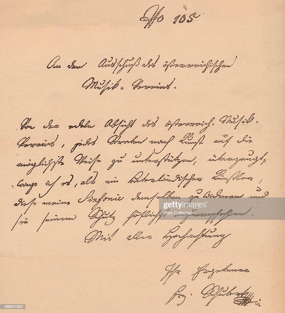 Letter From Franz Schubert To The Austrian Musical Union Circa 1820 News Photo