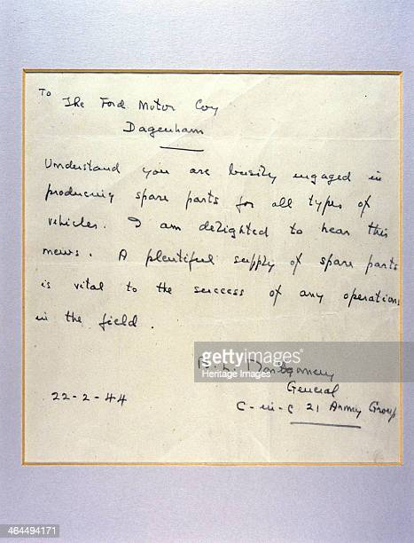 Letter from General Montgomery to Henry Ford, 1944. In the letter Montgomery expresses his delight in Ford's contribution to the war effort....