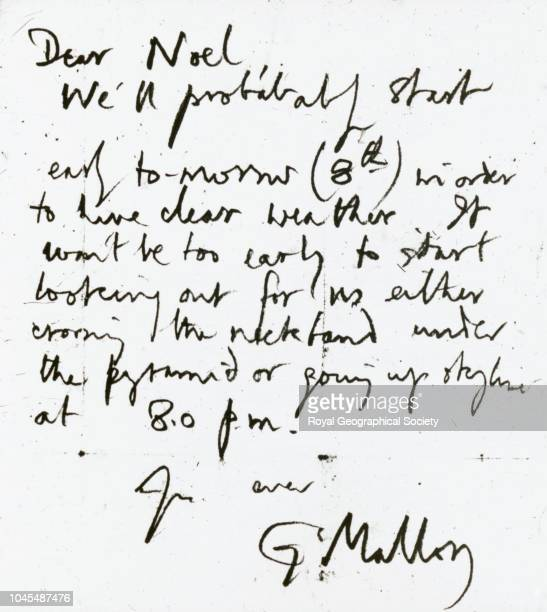 Letter from George Mallory to John Noel Photograph of a letter from George Mallory to Captain Noel the day before he disappeared on Everest 'Dear...