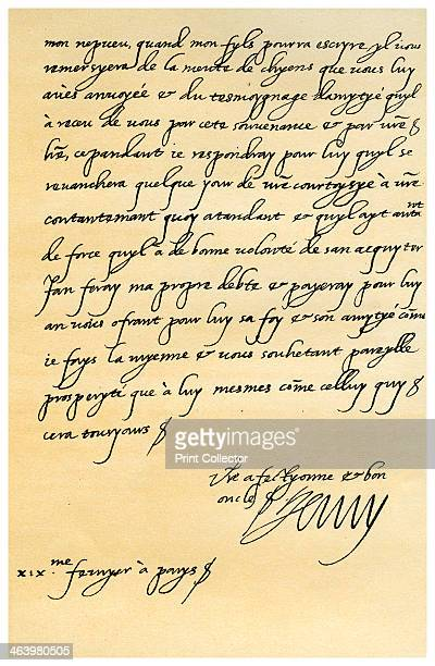 Letter from Henry IV of France to Henry, Prince of Wales, 19th February 1606. Letter written from Paris by Henry IV of France to Henry, Prince of...