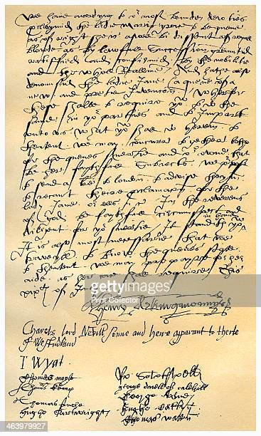Letter from Henry Neville and others 19th July 1553 Letter from Henry Neville Lord Abergavenny Charles Neville Lord Neville Sir Thomas Wyat and nine...