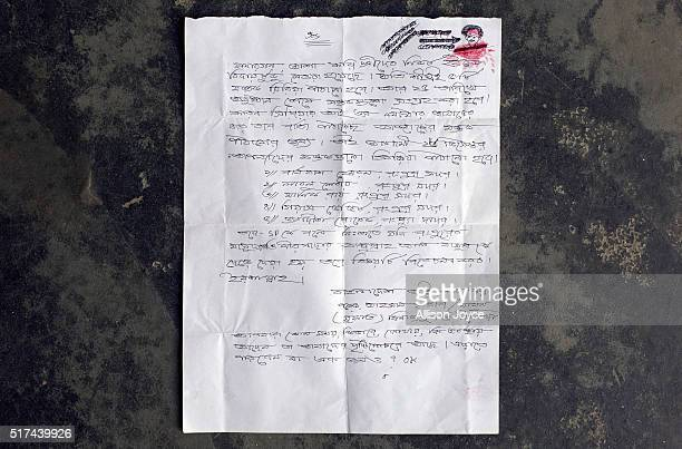 A letter from ISIS that names 10 Christian leaders in Rangpur that was received by a Baptist Revered is seen on March 24 2016 in Rangpur Bangladesh...