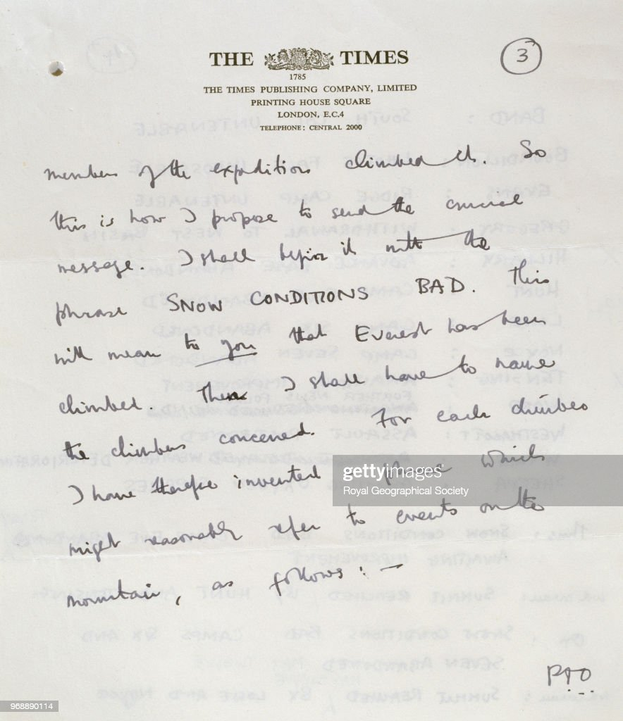 Letter from James Morris to Fletcher at the Times explaining code