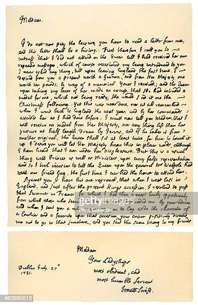 Letter from Jonathan Swift to Henrietta Howard, 21st November 1730. Letter written from Dublin by Swift, Dean of St Patrick's, to Henrietta,...