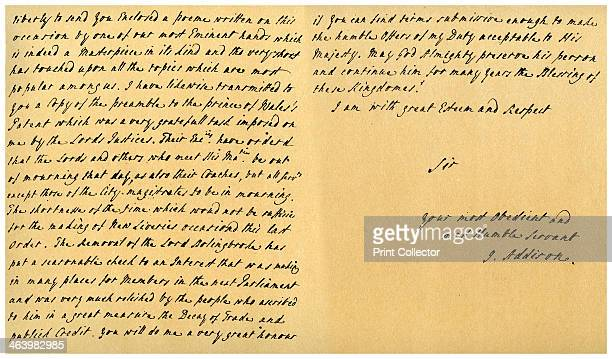 Letter from Joseph Addison to J Robethon Secretary to George I 4th September 1714 Letter written from St James's by Joseph Addison when acting as...