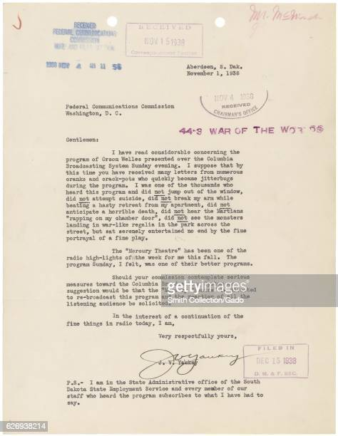 Letter from JV Yaukey from the Federal Communications Commission Washington District of Columbia regarding the War of the Worlds radio broadcast...