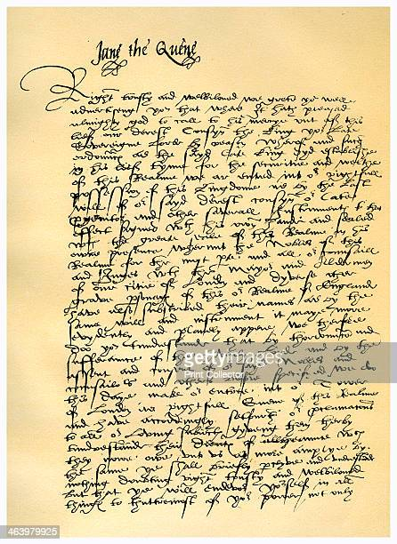 Letter from Lady Jane Grey to William Parr, Marquis of Northampton, 10th July 1553. Letter written from the Tower of London, announcing her accession...