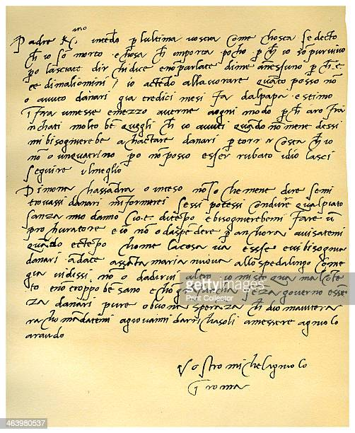 Letter from Michelangelo Buonarroti to his father, June 1508. Letter written from Rome, in Italian, from Michelangelo to his father, Lodovico di...