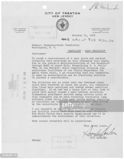 Letter from Paul Morton the city manager of Trenton New Jersey regarding the War of the Worlds radio broadcast and the effect it caused in the city...