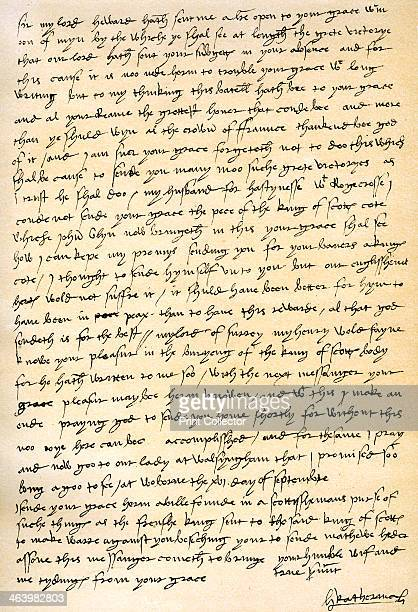 Letter from Queen Catherine of Aragon to her husband Henry VIII Woburn 16th September 1513 Facsimile of a letter from Catherine of Aragon to Henry...