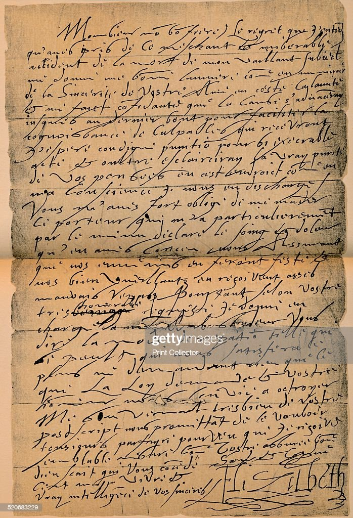 A letter from Queen Elizabeth I to King Jmaes VI on the death of