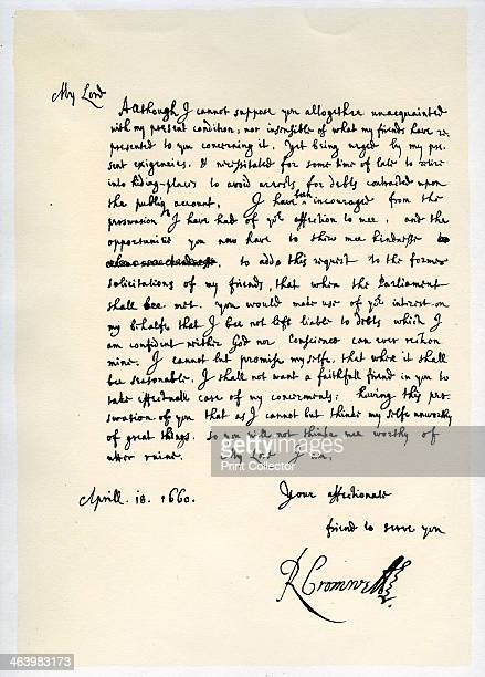 Letter from Richard Cromwell Lord Protector to General George Monck 18th April 1660 Letter requesting Monck to use his interest with the Parliament...