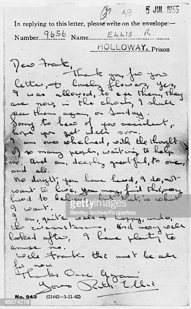 A letter from Ruth Ellis to Frank Neale sent from Holloway Prison in London to thank him for a bouquet of flowers 5th July 1955 Ellis was executed...