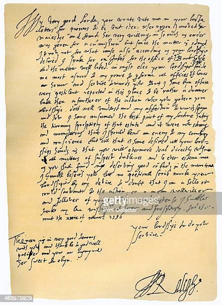 Letter from Sir Walter Raleigh to Robert Dudley Earl of Leicester 29th March 1586 Letter written From the Court by Raleigh to Dudley Governor of the...