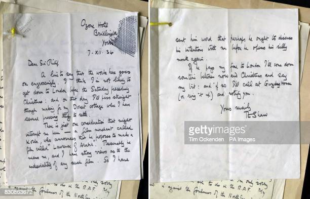A letter from TE Lawrence expressing concern at the proposed film Lawrence of Arabia by director Alexander Korda one of the files released to the...