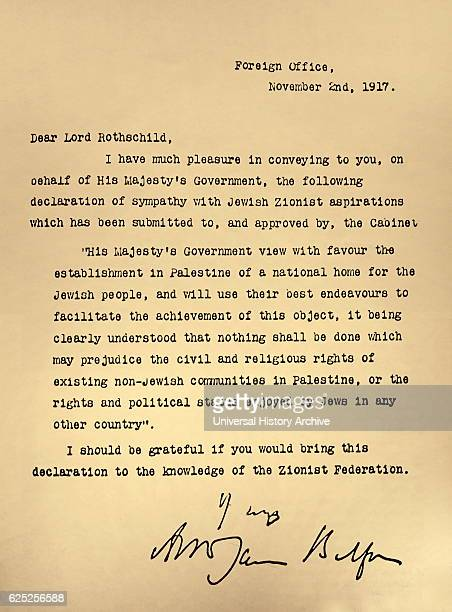 Letter from the Foreign Office to Lord Rothschild known as the 'The Balfour Declaration' Dated 20th Century