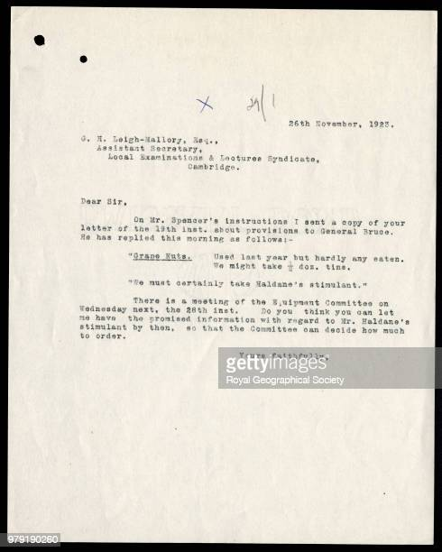 Letter from the Mount Everest Committee to George Mallory regarding equipment and provisions 26 November 1923 Mount Everest Expedition 1924